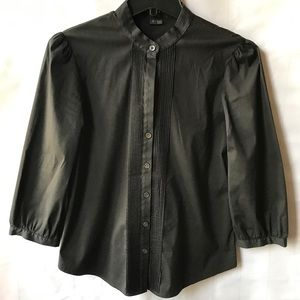 Theory Black 3/4 Sleeves Pleated Front Blouse Top